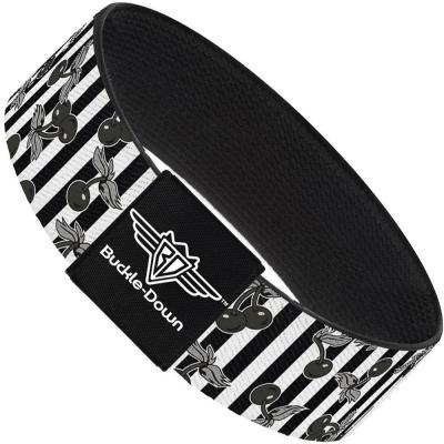 Buckle-Down Elastic Bracelet - Cherries Scattered/Vertical Stripe White/Black/Grays