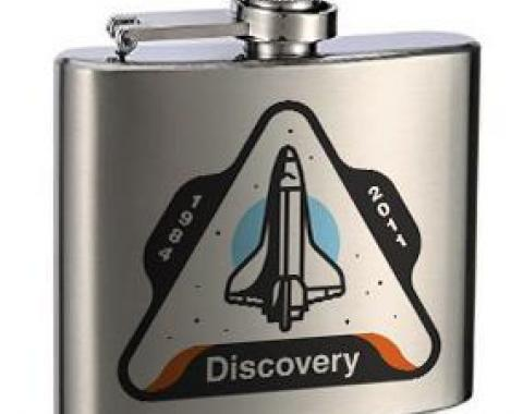 Stainless Steel Flask - 6 OZ - SPACE SHUTTLE DISCOVERY 1984-2011 Space Shuttle White/Gray/Blue/Orange