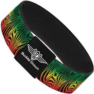 Buckle-Down Elastic Bracelet - Zebra Head Rasta