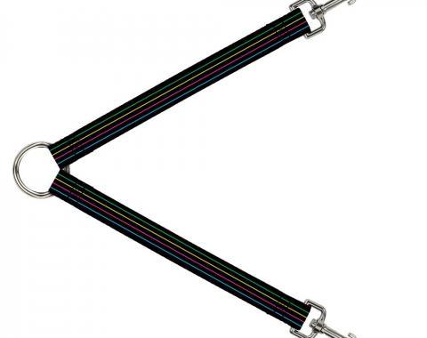 Dog Leash Splitter - Pinstripes Black/Multi Color