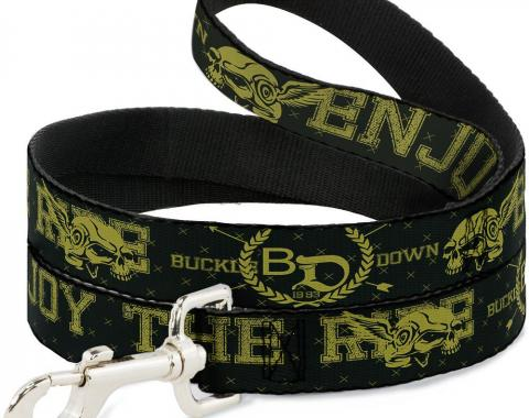Buckle-Down Dog Leash - BD Winged Skull ENJOY THE RIDE Olive/Lime Green
