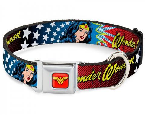 Dog Collar WWA-Wonder Woman Red - Wonder Woman Face w/Stars