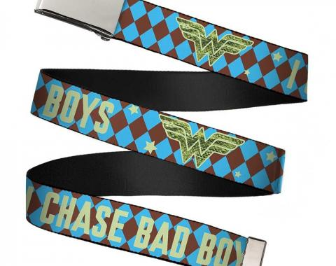 Chrome Buckle Web Belt - Wonder Woman Logo/I CHASE BAD BOYS Diamonds Blue/Brown Webbing