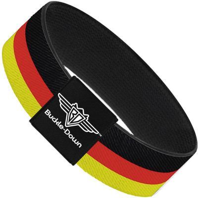 Buckle-Down Elastic Bracelet - Stripes Black/Red/Yellow