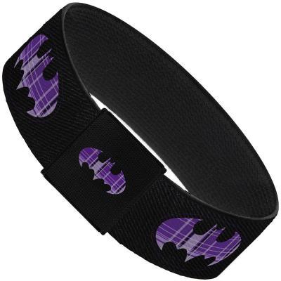 "Elastic Bracelet - 1.0"" - Batman Signal Black/Purple Plaid"