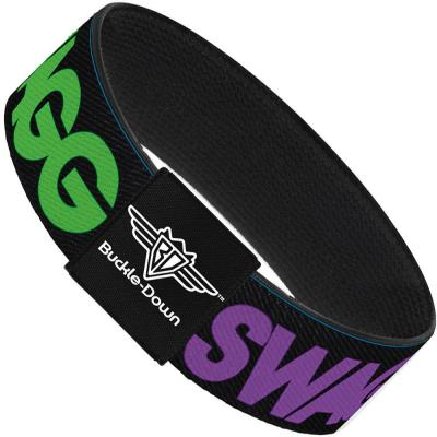 Buckle-Down Elastic Bracelet - SWAGG Black/Hot Pink/Turquoise/Purple/Neon Green