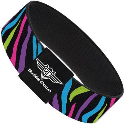 Buckle-Down Elastic Bracelet - Zebra Black/Blue/Green/Pink/Purple