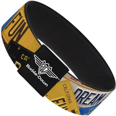 Buckle-Down Elastic Bracelet - Cali License Plates Stacked