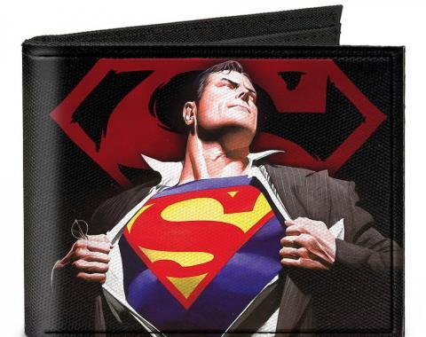 Canvas Bi-Fold Wallet - Superman Forever Clark Kent-Superman Transition/Shield Black/Red