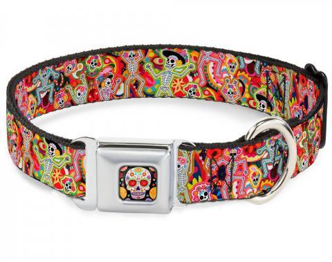 Dog Collar TYA-Sugar Skull Starburst Full Color Black/Multi Color - Dancing Catrinas Collage Multi Color