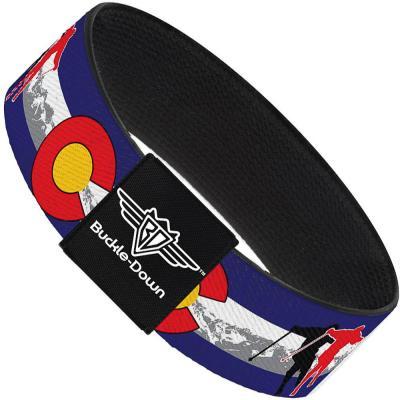 Buckle-Down Elastic Bracelet - Colorado Skier1 Red/Mountains