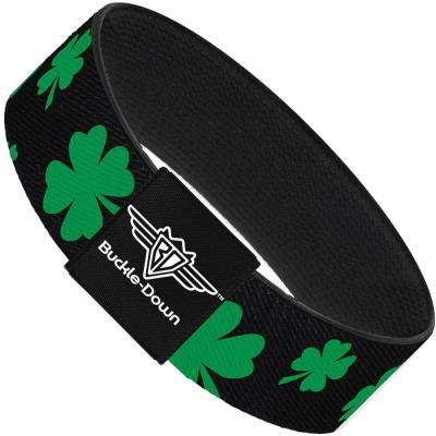 Buckle-Down Elastic Bracelet - St. Pat's Clovers Scattered2 Black/Green