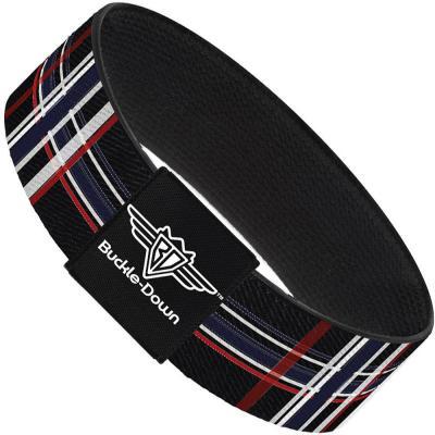 Buckle-Down Elastic Bracelet - Plaid Black/Red/White/Blue