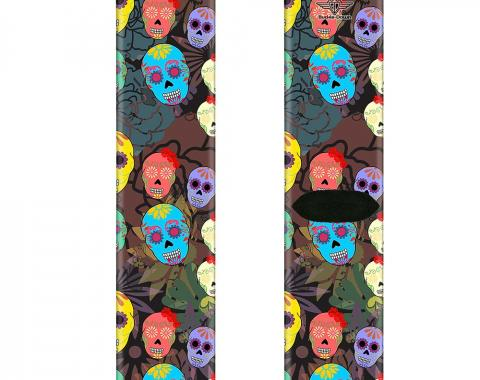 Sock Pair - Polyester - Painted Sugar Skulls & Flowers Collage - CREW