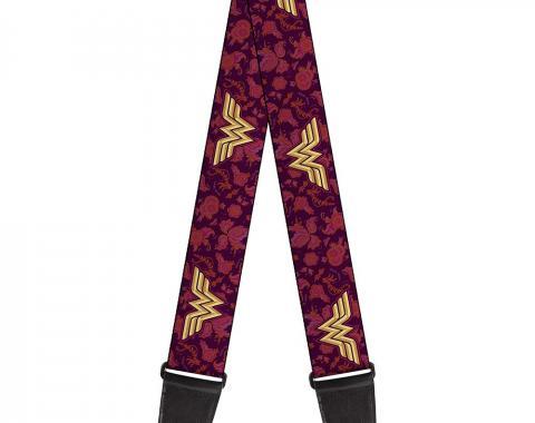 Guitar Strap - Wonder Woman Logo/Floral Collage Purple/Pinks/Gold