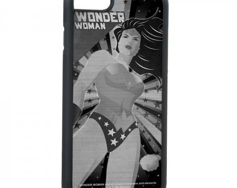 Rubber Cell Phone Case - BLACK - WONDER WOMAN New Constructivism Standing Pose Brushed Silver