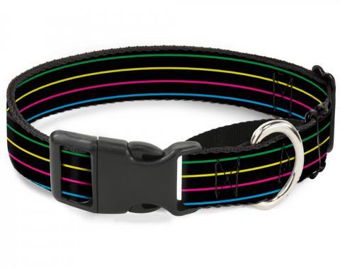 Plastic Martingale Collar - Pinstripes Black/Multi Color