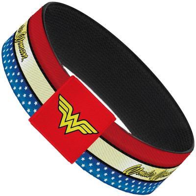"""Elastic Bracelet - 1.0"""" - WONDER WOMAN Script Stripe/Stars Red/Gold/Blue/White"""