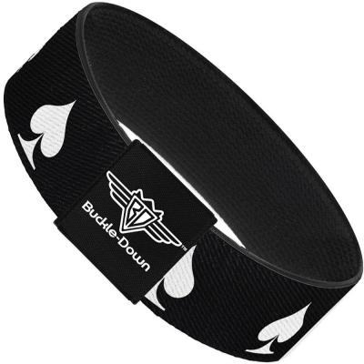 Buckle-Down Elastic Bracelet - Spade Black/White