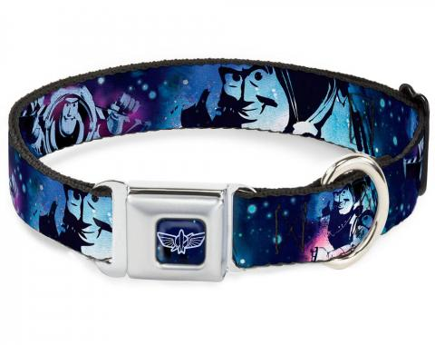 Dog Collar DYCF-Space Ranger Logo Outline Full Color Blue/White Buzz Lightyear Poses Galaxy Blues