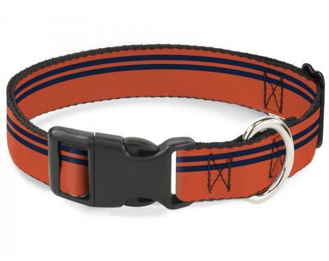 Buckle-Down Plastic Buckle Dog Collar - Racing Stripe Orange/Navy