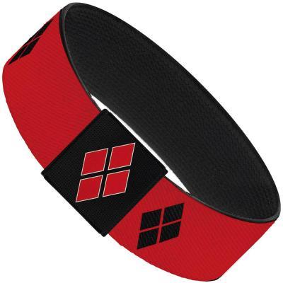 """Elastic Bracelet - 1.0"""" - Harley Quinn Diamond Blocks2 Red/Black Black/Red"""