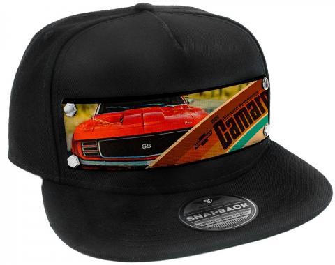Embellishment Trucker Hat BLACK - Full Color Strap - 1969 CHEVROLET CAMARO COMMAND PERFORMANCE Grill View