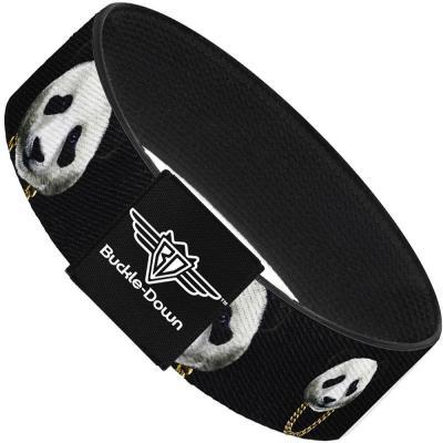 Buckle-Down Elastic Bracelet - Panda w/Gold Chain Black