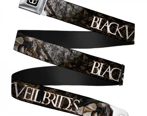 BVB Logo Full Color Black/White Seatbelt Belt - BLACK VEIL BRIDES Winged Legion CLOSE-UP Black/Brown/White Webbing