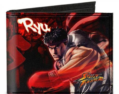 Canvas Bi-Fold Wallet - STREET FIGHTER RYU vs. AKUMA Action Poses Reds/Black