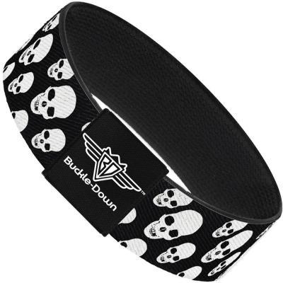 Buckle-Down Elastic Bracelet - Tilted Skulls Black/White