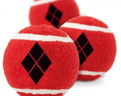 Dog Toy Squeaky Tennis Ball 3-PACK - Harley Quinn Diamond Icon Red/Black
