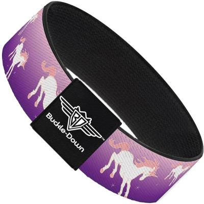 Buckle-Down Elastic Bracelet - Unicorn Sparkles Purple/Pink