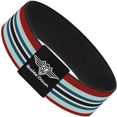 Buckle-Down Elastic Bracelet - Stripes Red/Blues/White