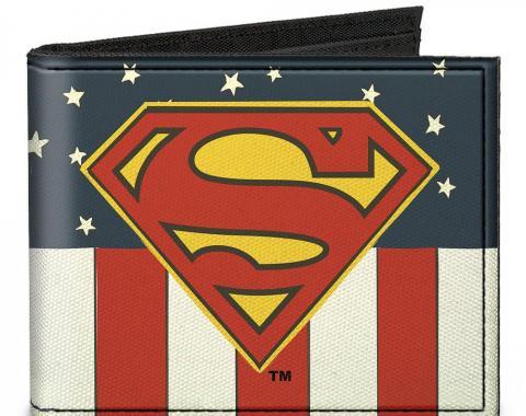 Canvas Bi-Fold Wallet - Superman Shield Americana Red/White/Blue/Yellow