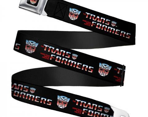 Transformers Autobot Logo Full Color Black/Blue-Red Fade Seatbelt Belt - TRANSFORMERS Logo/Autobot Black/Blue-Red Fade Webbing
