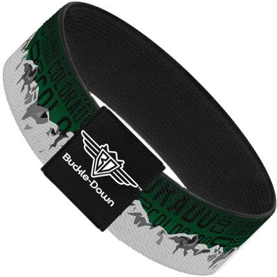Buckle-Down Elastic Bracelet - Colorado Mountains Green/Black Text/Grays