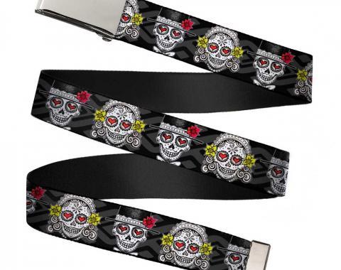 Chrome Buckle Web Belt - Los Novios Black/Gray/White/Multi Color Webbing