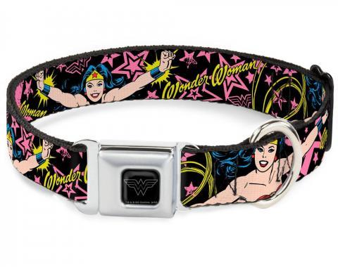 Dog Collar WWE-Wonder Woman Black/Silver - Wonder Woman/Stars Black/Pink