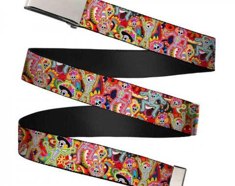 Chrome Buckle Web Belt - Dancing Catrinas Collage Multi Color Webbing