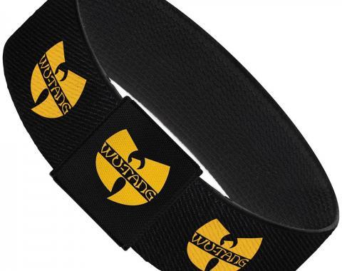 """Elastic Bracelet - 1.0"""" - WU-TANG Logo Repeat Black/Gold"""