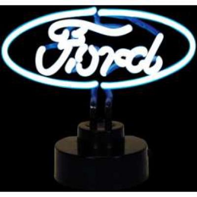Neon Sign, White Ford Oval, Tabletop Model