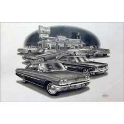 Black & White Print, 427 Cars, Galaxie, 1963-1964